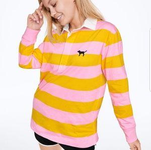 VS Pink Rugby Long Sleeve Tee Stripe